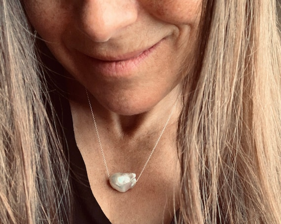 Huge White Baroque Freshwater Pearl and Sterling Silver or 14k-Gold-Fill Necklaces, Minimalist Statement Pieces, Elegant and Modern