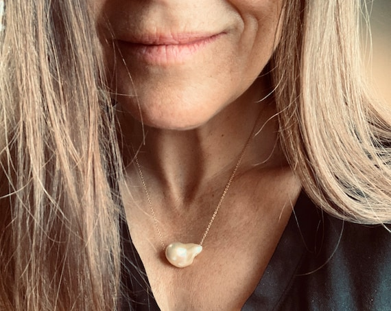 Huge Gold Baroque Freshwater Pearl and 14k-Gold-Filled Necklaces, Significant, Elegant and Modern