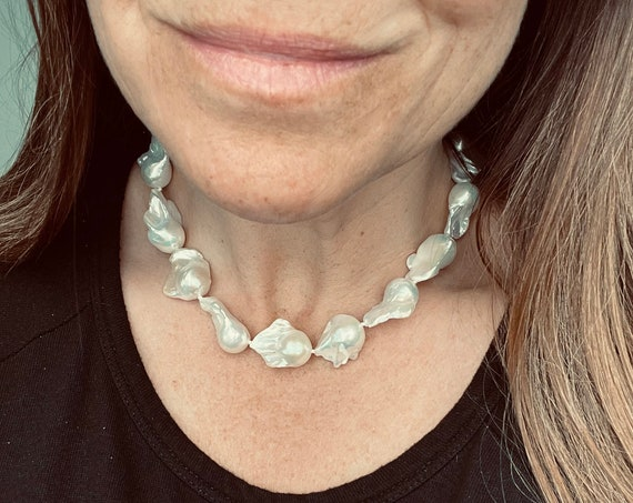 Exceptional Baroque Pearl Strand, Silver-White, Hand-Knotted, Simple Yet Totally Individual