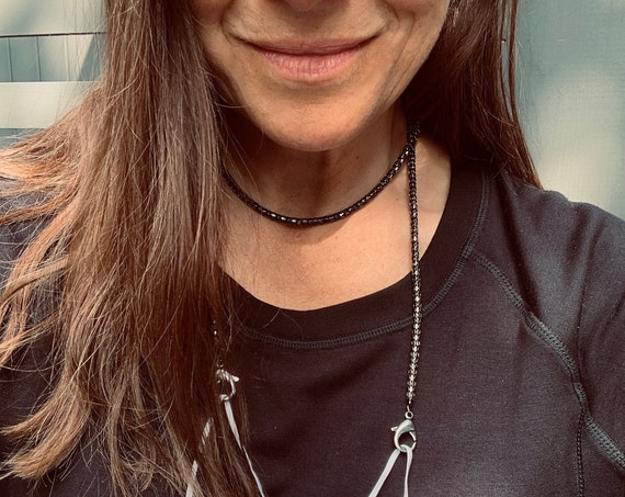 Sleek, Edgy Mask Chain-Choker Made with Vintage Black or Silver Snake Chain with Extra-Large Lobster Clasps