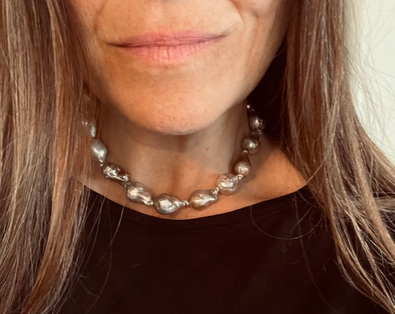 Gorgeously Chunky Choker Made with Grey Freshwater Baroque Pearls and Metallic Leather, Glowing and Casually Extravagant