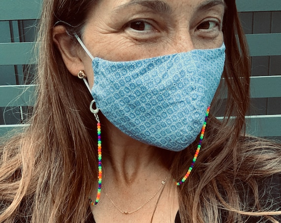 Rainbow Face Mask Chain (Holder, Hanger or Necklace), Elegantly Fun, Available With or Without Pearls