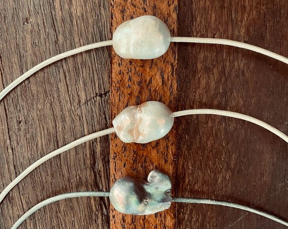Roughly Luxurious Jumbo Freshwater Pearl Choker on Metallic Leather with Sterling Silver Clasp, Impressive and Interesting