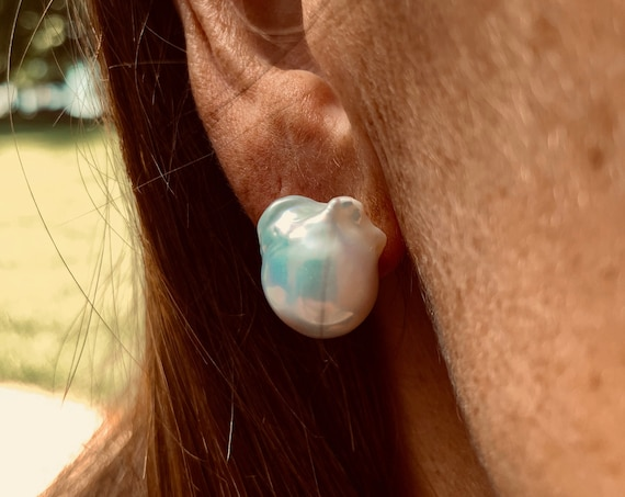 16mm Baroque Pearl Studs, Iridescent White-Silver, Beautiful and Striking Yet Subtle, Beautiful on a Bride or in the Office