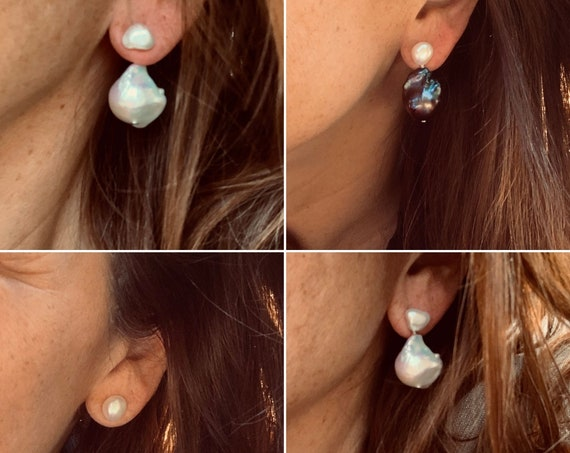 Removable Silver-White or Peacock Baroque Pearl Drop Extensions, Wear in Front or Behind the Ear, Buy with Studs or Alone