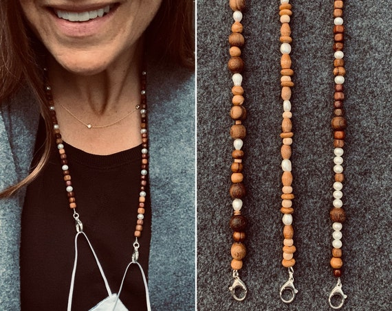 Wood and Pearl Face Mask Chains Made with Vintage Wood Beads and Freshwater Pearls, Unique, Warm, and Unusual