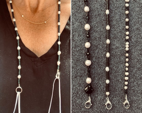 Black and White Mask Chains Made with Vintage Beads and Freshwater Pearls, Practical and Sophisticated