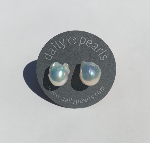 16mm Baroque Pearl Studs, Iridescent White-Silver, Beautiful and Striking, Yet Subtle