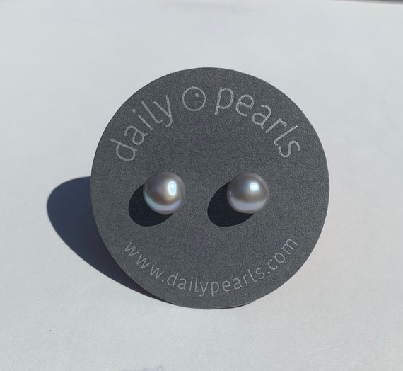 10mm Grey Baroque Pearl Studs, Subtle and Elegant