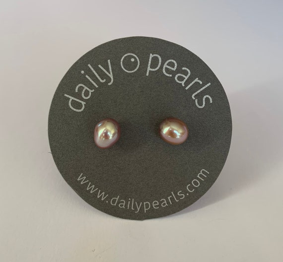 8mm Baroque Pearl Studs, Naturally Purple-Grey, Sophisticated, and Easy to Wear