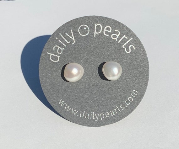 8mm Baroque Pearl Studs, Slightly Warm and Elegantly Shaped
