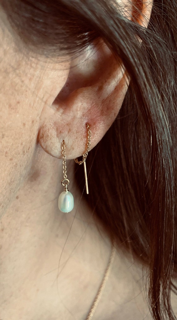 White Freshwater Pearl and 14k-Gold-Filled Threader Earrings, Minimalist, Elegant, and Delicate