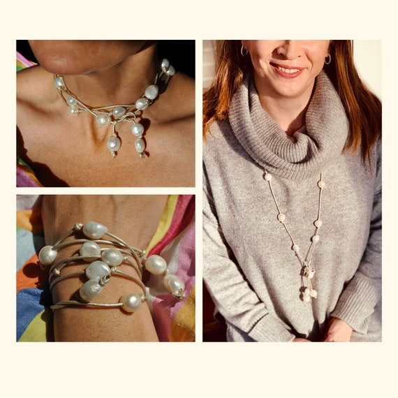 Large White Pearl and Warm Silver Leather Lariat, Sophisticated and Fun, Great as a Bracelet or Necklace