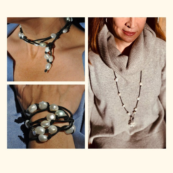 Large White Pearl and Black Suede Lariat, Dramatic, On-Trend, and Easy to Wear as a Bracelet or Necklace