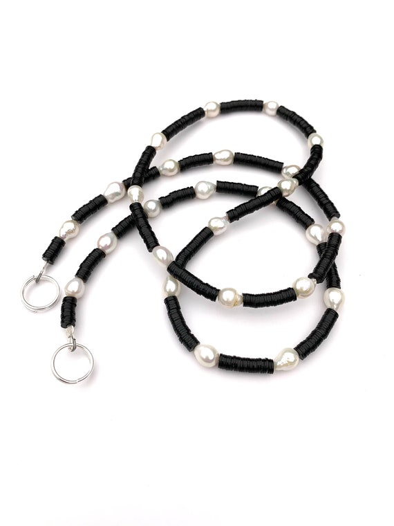 Face Mask Chain (Holder, Chain, Necklace) Made with Freshwater Pearls and Recycled Vinyl Record Beads