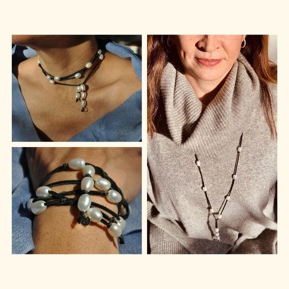 White Pearl Lariat and Black Deerskin, Supple and Elegant as a Necklace or Bracelet