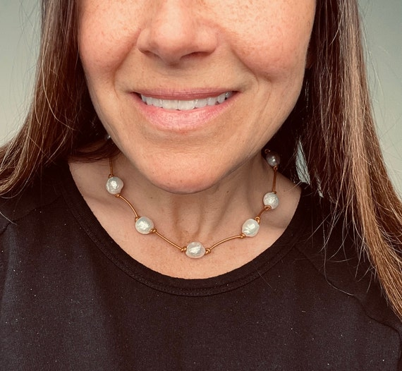Knotted Leather Station Necklace Made with Large Edison Freshwater Pearls and Metallic Leather