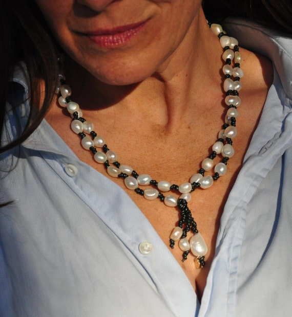 Metallic Black Leather and Baroque Freshwater Pearl Necklace, Elegant Long or Looped