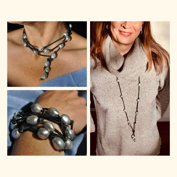 Large Grey Pearl and Black Suede Lariat, Dramatic, On-Trend, and Easy to Wear as a Bracelet or Necklace