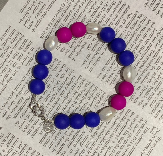 Baroque Freshwater Pearl and Blue and Purple Pressed Glass Bead Bracelet, Fun and Trend Elevated