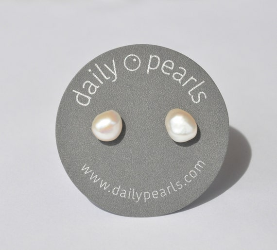 10mm Baroque Pearl Studs, Light Champagne, Interestingly Shaped, and Luminous