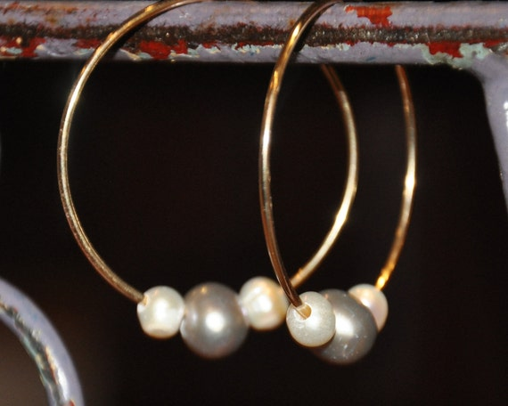 Gold Hoops with Four Sets of Interchangeable Pearls, Simple, Fun, and Practical