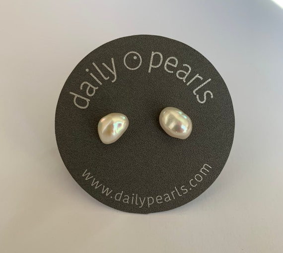 9mm Baroque Pearl Studs, Uniquely Oblong, Silver-White, and Elegantly Unusual