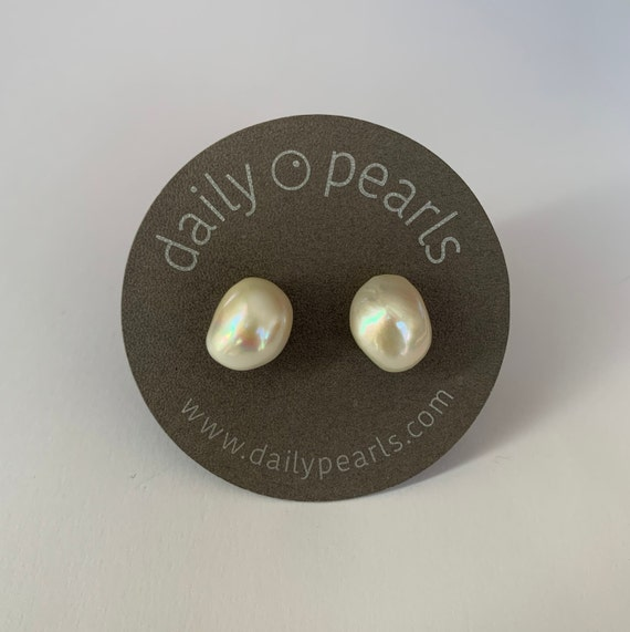 12mm Baroque Pearl Studs, Shiny Warm White and Beautifully Solid