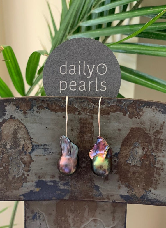 Large Baroque Pearl Drop Earrings in Sterling Silver, Peacock Fireball Freshwater Pearls, Dramatic, Multi-Coloured and Unusual