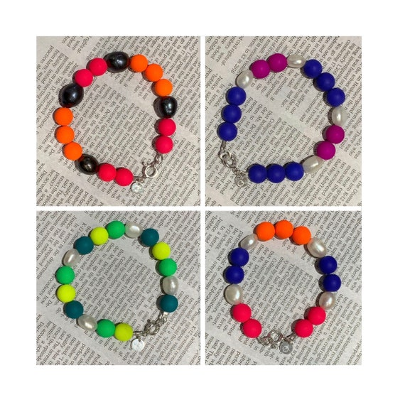 Neon Pressed Czech Glass Beads and Freshwater Pearl Bracelets, Fun, UV Reactive and Great Layered