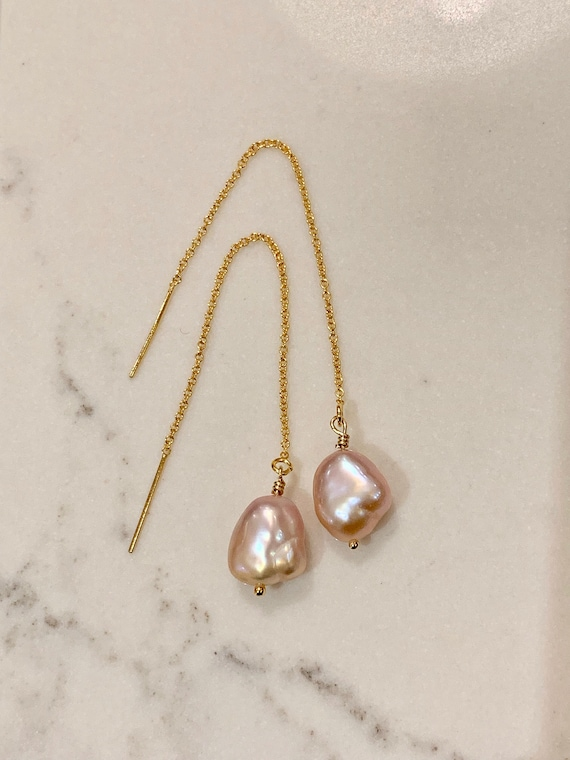 Pink Freshwater Pearl and 14k-Gold-Filled Threader Earrings, Minimalist, Elegant, and Delicate