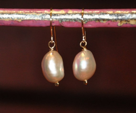 12mm Pink Baroque Pearl 14k-Gold-Filled Dangles, Hammered and Simple