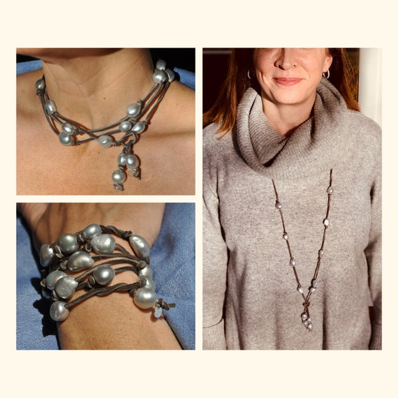 Large Grey Pearl and Brown Suede Lariat, Versatile as a Bracelet or a Necklace