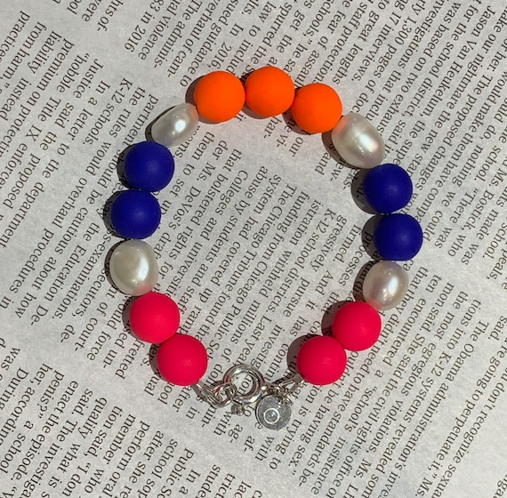 Baroque Freshwater Pearl and Neon Pink, Orange & Blue Pressed Glass Bead Bracelet, Bold, Fun and Hip