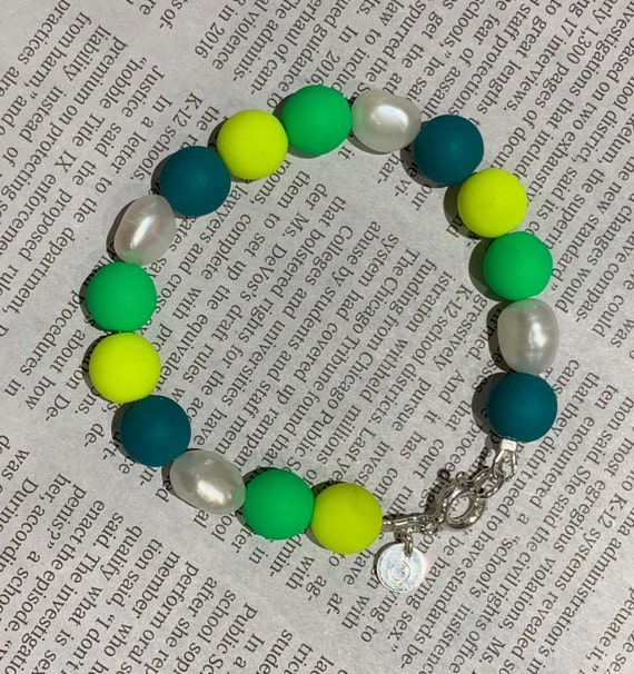 Baroque Freshwater Pearl and Neon Yellow, Green & Teal Glass Bead Bracelet, High-Low Funky and Fabulous