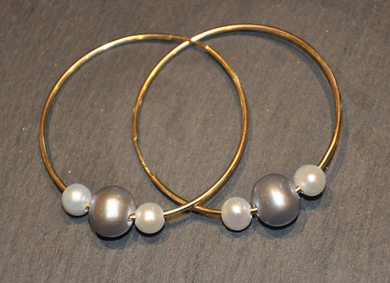 Gold or Silver Hoops with Interchangeable Pearls, Simple, Fun, and Practical