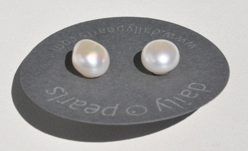 Shapely Smooth and Slightly Warm 11mm Baroque Pearl Studs