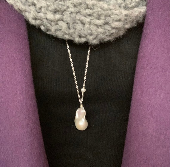 Large Baroque Pearl Pendant on Mid-Length Sterling Silver Chain, A Statement Piece Which Can Also be Layered