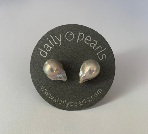 17mm Baroque Pearl Studs, Fabulously Unique and Pointy