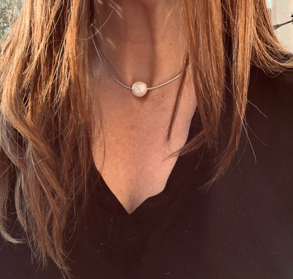 Large Pearl Choker on Warm Metallic Leather, Easy to Wear and Significant in Size