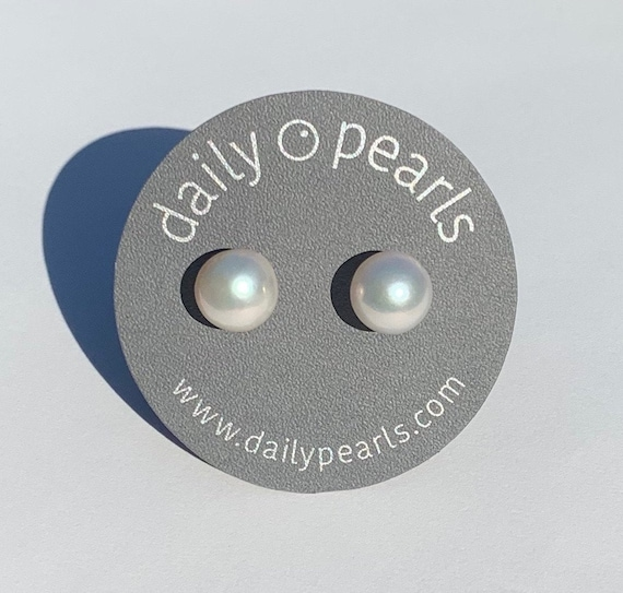 13mm Edison Pearl Studs, High-Profile and Round, Silver-White, and Unusually Smooth