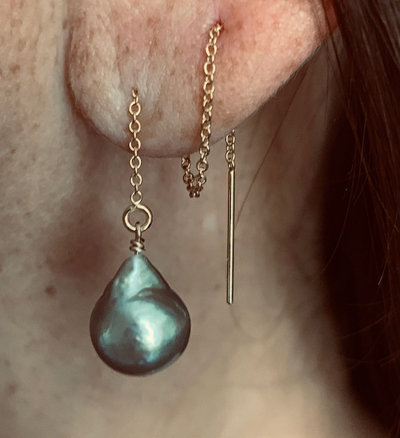 Grey Baroque Freshwater Pearl and 14k-Gold-Filled Threader Earrings, Trendy and Luxurious
