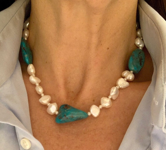 Freshwater Baroque Pearl and Turquoise Nugget Strand, Unusual and Fabulous
