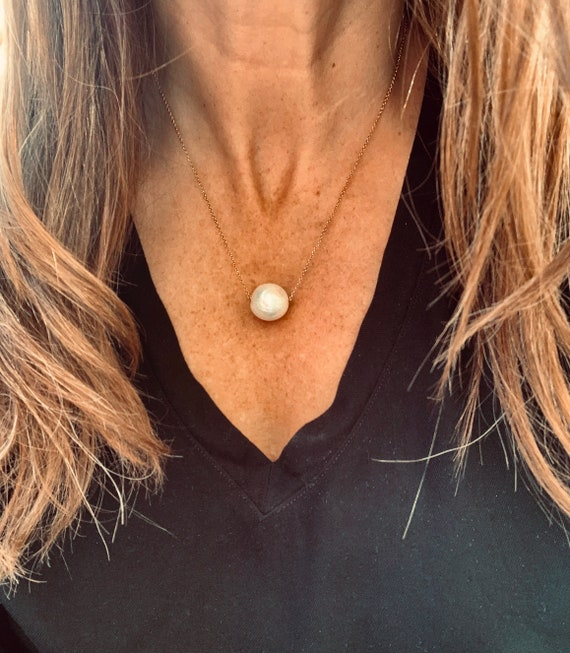 Large (and Jumbo) White Edison Freshwater Pearl and 14k-Gold-Filled or Sterling Silver Necklaces, Impressive Statement Piece