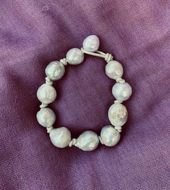 White Edison Pearl and Metallic Knotted Leather Bracelet, Sumptuous, Substantial, and Elegant