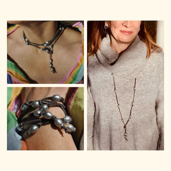 Grey Pearl and Brown Suede Lariat, Luxuriously Sophisticated as a Necklace or Bracelet