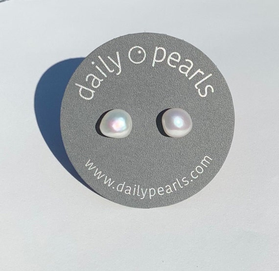 7mm Baroque Pearl Studs, Shining White, Beautifully Shaped Nuggets