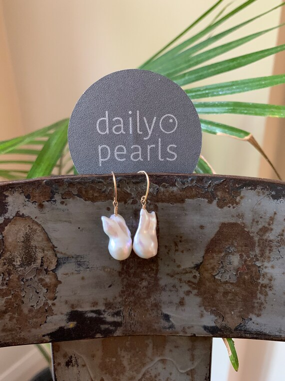 Large Baroque Pearl Dangle Drop Earrings in 14k-Gold-Fill, White Fireball Freshwater Pearls, Exquisite, Perfectly Sized for All-Day Wear