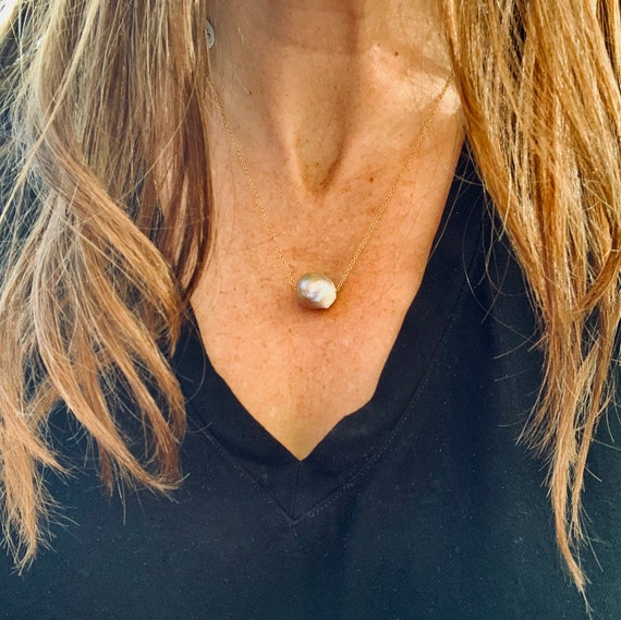Large, Pinky-Bronze Baroque Freshwater Pearl and 14k-Gold-Filled Necklace, Subtle, Warm and Glowing