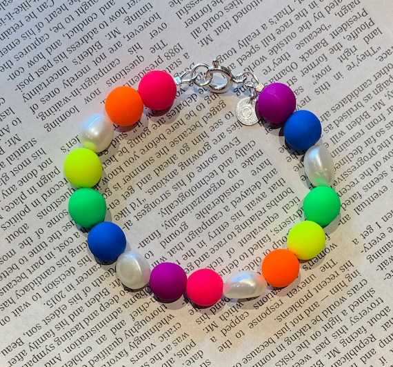 Neon Rainbow Glass Bead and Freshwater Pearl Bracelet, Happy, Fun, and Perfect for All Ages